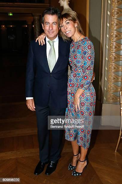 Cyril Karaoglan and Mathilde Favier attend Cyril Karaoglan receives the Medal of Commander of Arts and Letters at Opera Garnier on September 23 2016...