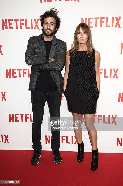 Cyril Paglino and Axelle Laffont attend the 'Netflix' Launch Party At Le Faust In Paris on September 15 2014 in Paris France