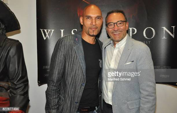 Cyril Radlher and Heinz Stiastny pose during the 'Wish Upon' premiere in Vienna at Lugner Lounge Kino on July 25 2017 in Vienna Austria