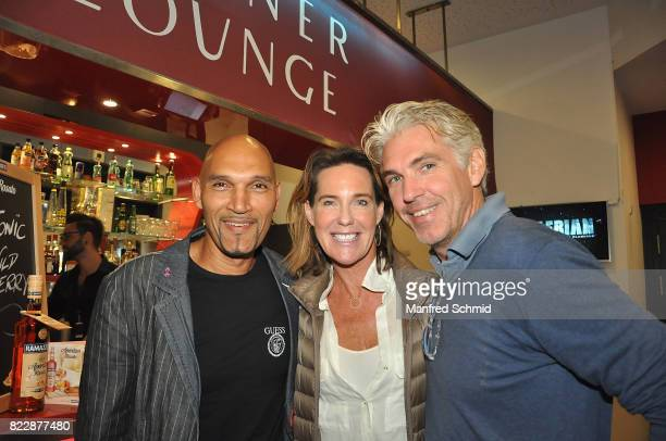 Cyril Radlher Kathi Stumpf and Alexander Beza pose during the 'Wish Upon' premiere in Vienna at Lugner Lounge Kino on July 25 2017 in Vienna Austria