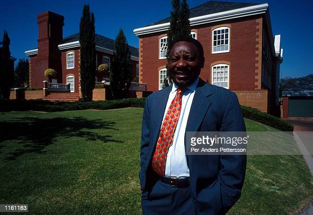 Cyril Ramaphosa a former union leader and one of Nelson Mandela's political heirs poses for a portrait October 23 1998 outside his office in Sandton...