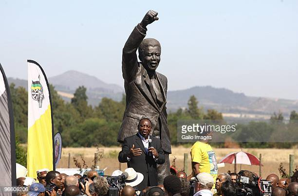 Cyril Ramaphosa addresses the crowd of people celebrating the 20th anniversary of Nelson Mandela's release from prison at Groot Drakenstein formerly...