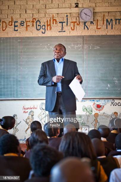 Cyril Ramaphosa at his alma mater Tshilididzi Primary School on May 4 2012 in Soweto South Africa where he spoke about the AdoptaSchool project The...