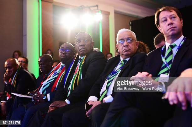 Cyril Ramaphosa Deputy President of South Africa Mark Alexander President of SA Rugby and Juri Roux CEO of SA Rugby look on during the Rugby World...
