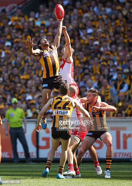 Cyril Rioli of the Hawks flies for a mark during the 2014 AFL Grand Final match between the Sydney Swans and the Hawthorn Hawks at Melbourne Cricket...