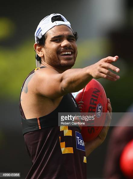 Cyril Rioli of the Hawks gestures during a Hawthorn Hawks AFL preseason training session at Waverley Park on December 3 2015 in Melbourne Australia