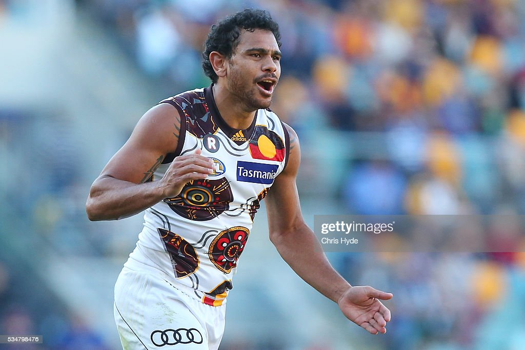 Cyril Riolo of the Hawks celebrates a goal during the round 10 AFL match between the Brisbane Lions and the Hawthorn Hawks at The Gabba on May 28, 2016 in Brisbane, Australia.