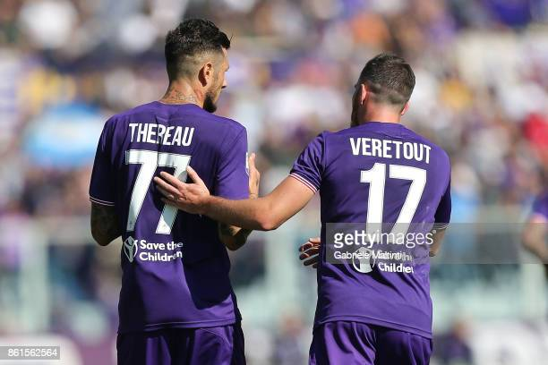 Cyril Therau and Jordan Veretout of ACF Fiorentina during the Serie A match between ACF Fiorentina and Udinese Calcio at Stadio Artemio Franchi on...