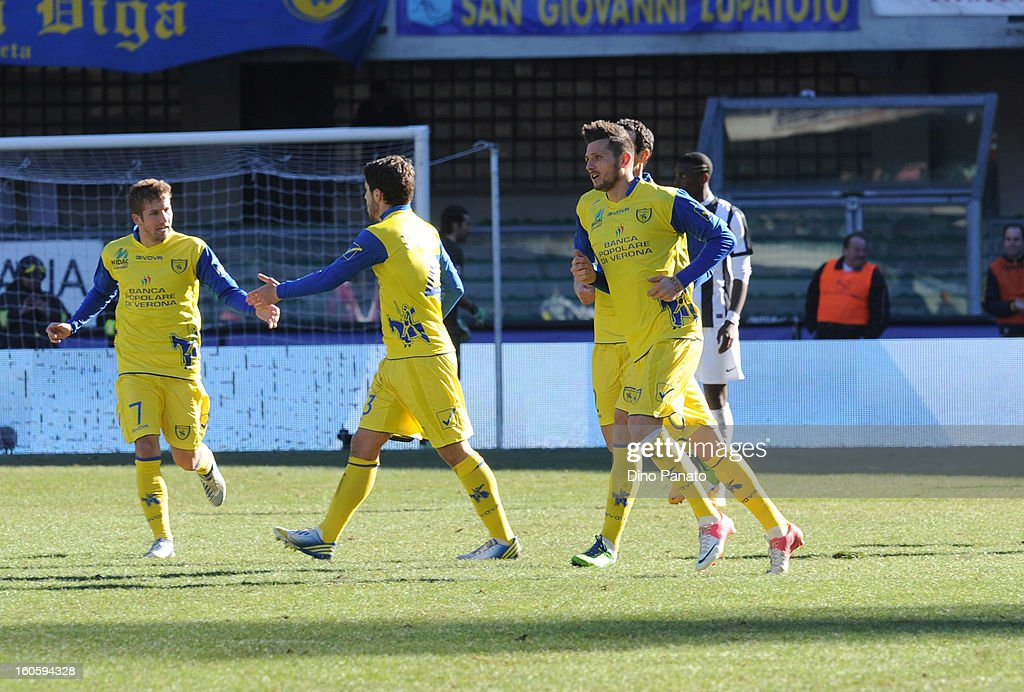 Cyril Thereau of AC Chievo celebrate after scoring his first goal during the Serie A match between AC Chievo Verona and Juventus FC at Stadio Marc'Antonio Bentegodi on February 3, 2013 in Verona, Italy.