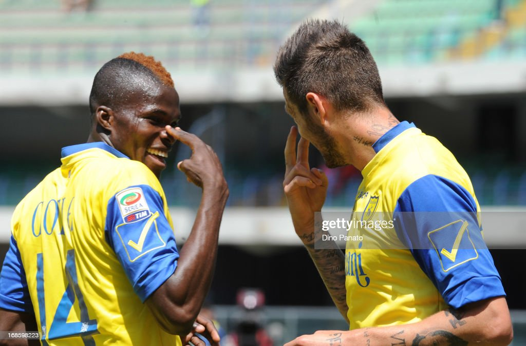 <a gi-track='captionPersonalityLinkClicked' href=/galleries/search?phrase=Cyril+Thereau&family=editorial&specificpeople=4063877 ng-click='$event.stopPropagation()'>Cyril Thereau</a> (R) of AC Chievo celebrate with is team-mate Isaac Cofie after scoring his opening goal during the Serie A match between AC Chievo Verona and Torino FC at Stadio Marc'Antonio Bentegodi on May 12, 2013 in Verona, Italy.