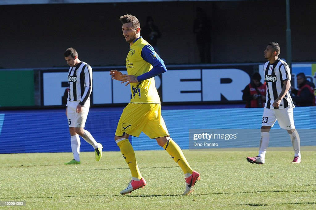 Cyril Thereau of AC Chievo celebrates after scoring his first goal during the Serie A match between AC Chievo Verona and Juventus FC at Stadio Marc'Antonio Bentegodi on February 3, 2013 in Verona, Italy.
