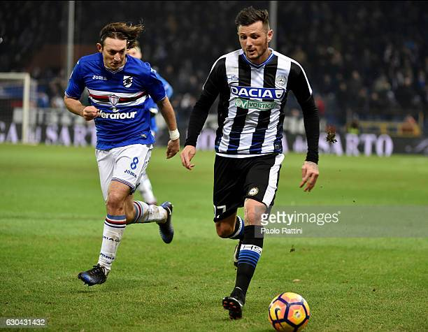 Cyril Thereau of Udinese and Edgar Barreto of Sampdoria during the Serie A match between UC Sampdoria and Udinese Calcio at Stadio Luigi Ferraris on...