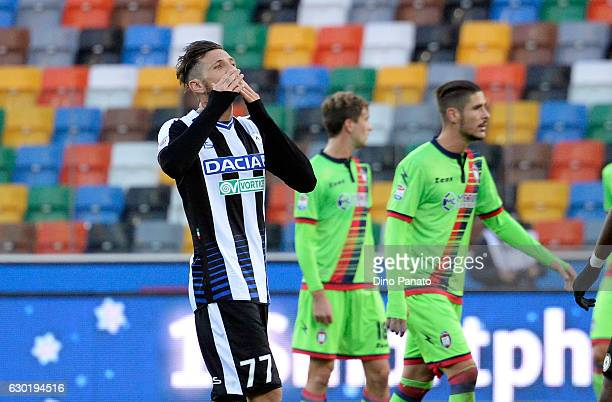 Cyril Thereau of Udinese Calcio celebrate after scoring his opening goal during the Serie A match between Udinese Calcio and FC Crotone at Stadio...