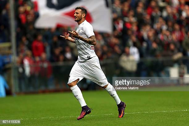 Cyril Thereau of Udinese Calcio celebrates after scoring a goal during the Serie A match between Genoa CFC and Udinese Calcio at Stadio Luigi...