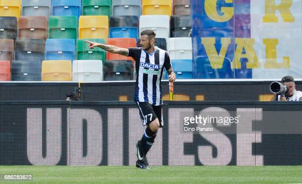 Cyril Thereau of Udinese Calcio celebrates after scoring his opening goal during the Serie A match between Udinese Calcio and UC Sampdoria at Stadio...