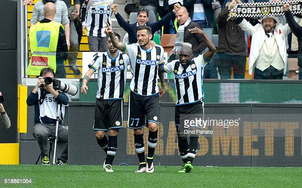 Cyril Thereau of Udinese Calcio celebrates after scoring his team's third goal during the Serie A match between Udinese Calcio and SSC Napoli at...