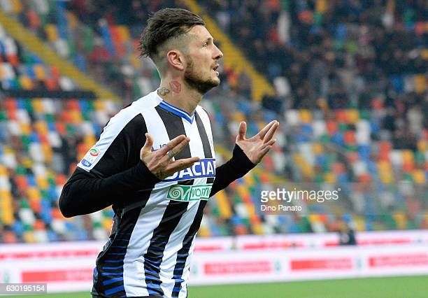 Cyril Thereau of Udinese Calcio celebrates after scoring his team's second goal goal during the Serie A match between Udinese Calcio and FC Crotone...