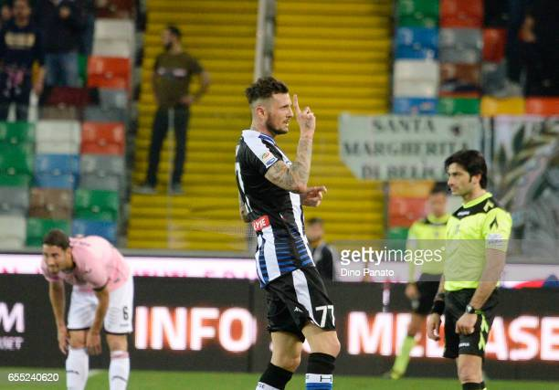 Cyril Thereau of Udinese Calcio celebrates after scoring his teams first goal during the Serie A match between Udinese Calcio and US Citta di Palermo...