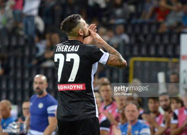 Cyril Thereau of Udinese Calcio celebrates after scoring his team's first goal during the Serie A match between Udinese Calcio and AC Chievo Verona...