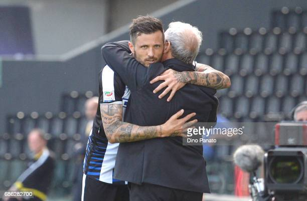 Cyril Thereau of Udinese Calcio celebrates with his head coach of Udinese Luigi Del Neri after scoring his opening goal during the Serie A match...