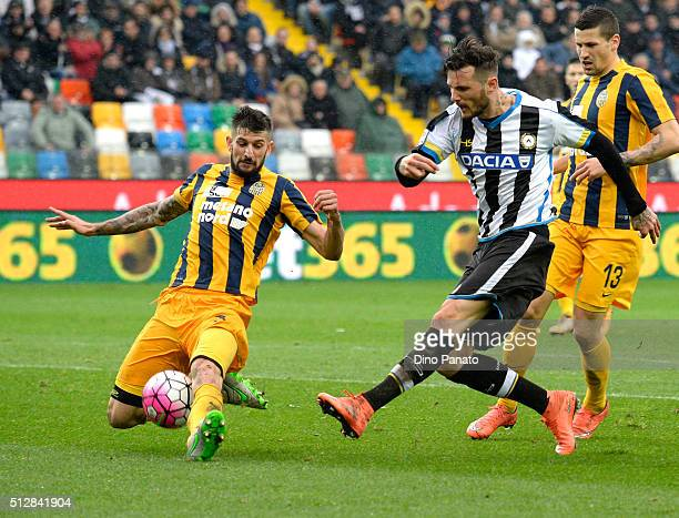 Cyril Thereau of Udinese Calcio competes with Eros Pisano of Hellas Verona during the Serie A match between Udinese Calcio and Hellas Verona FC at...