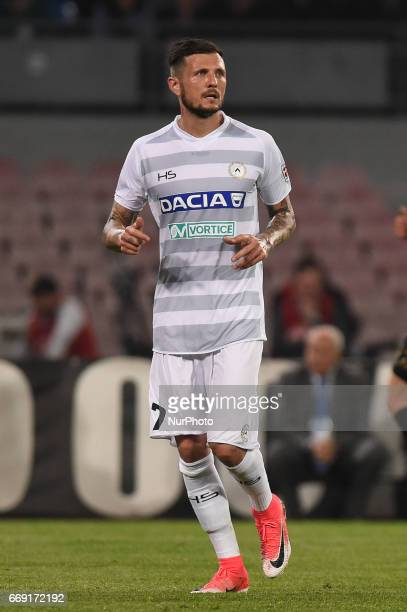 Cyril Thereau of Udinese Calcio during the Serie A TIM match between SSC Napoli and Udinese Calcio at Stadio San Paolo Naples Italy on 15 April 2017