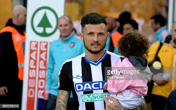Cyril Thereau of Udinese Calcio looks on before the Serie A match between Udinese Calcio and US Citta di Palermo at Stadio Friuli on March 19 2017 in...