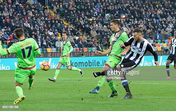 Cyril Thereau of Udinese Calcio scores his team's second goal goal during the Serie A match between Udinese Calcio and FC Crotone at Stadio Friuli on...