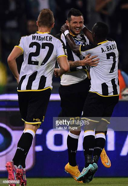 Cyril Thereau of Udinese celebrates with team mates after scoring the opening goal during the Serie A match between SS Lazio and Udinese Calcio at...