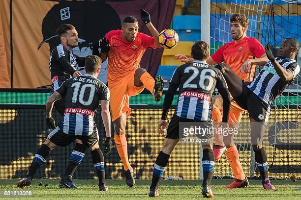 Cyril Thereau of Udinese Rodrigo De Paul of Udinese Juan of AS Roma Sven Kums of Udinese Frederico Fazio of AS Roma Duvan Zapata of Udineseduring the...