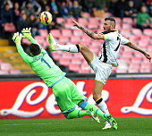 Cyril Thereau of Udinese scores the goal 21 during the Serie A match between SSC Napoli and Udinese Calcio at Stadio San Paolo on February 8 2015 in...