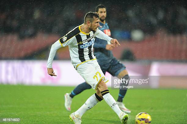 Cyril Thereau of Udinese scores the opening goal during the TIM CUP match between SSC Napoli and Udinese Calcio at the San Paolo Stadium on January...
