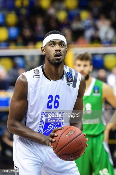 Cyrille Eliezer Vanerot of Levallois during the EuropCup match between Levallois Metropolitans and Darussafaka Istanbul at Salle Marcel Cerdan on...