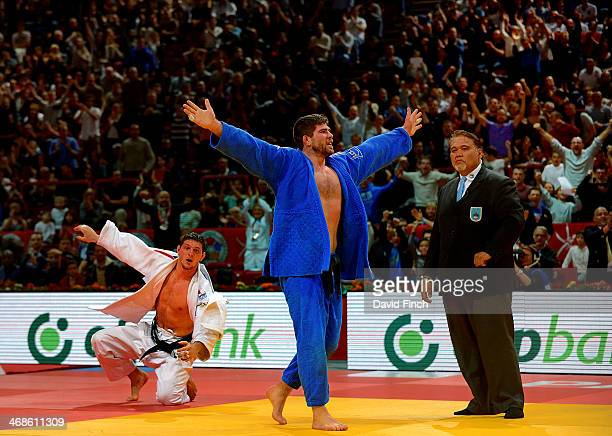 Cyrille Maret of France celebrates his gold medal victory over Lukas Krpalek of the Czech Republic during the Paris Grand Slam on Sunday February 09...