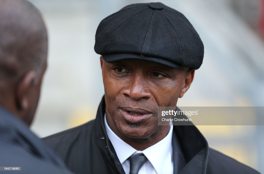 Cyrille Regis in attendance during the Sky Bet League One match between Leyton Orient and MK Dons at The Matchroom Stadium on October 12, 2013 in London, England.