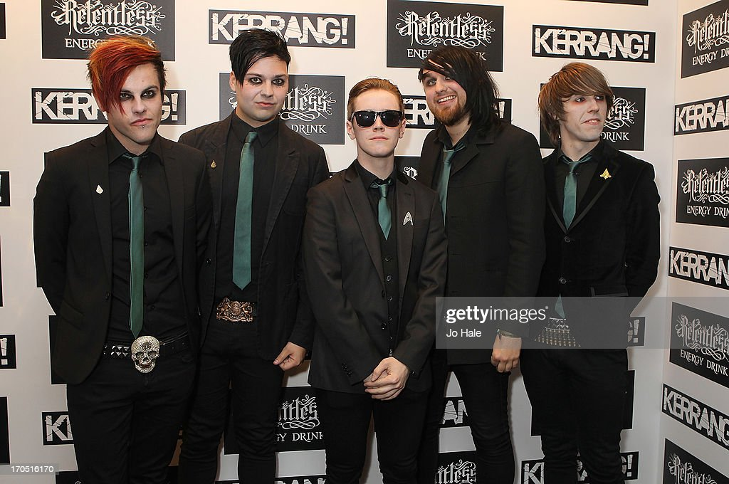 Cyrus Barrone, Laurence Beveridge, Kier Kemp, Luke Illingworth and Drew Woolnough of Fearless Vampire Killers attend The Kerrang! Awards at the Troxy on June 13, 2013 in London, England.