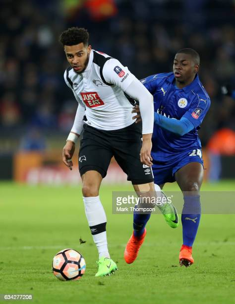 Cyrus Christie of Derby County battles for the ball with Nampalys Mendy of Leicester City during the Emirates FA Cup Fourth Round replay match...