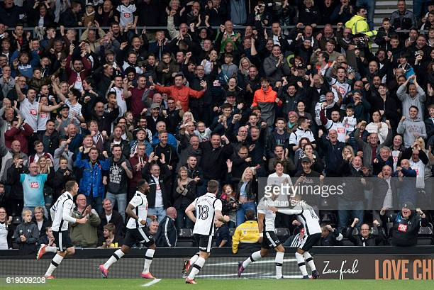Cyrus Christie of Derby County celebrates after scoring the opener during the Sky Bet Championship match between Derby County and Sheffield Wednesday...