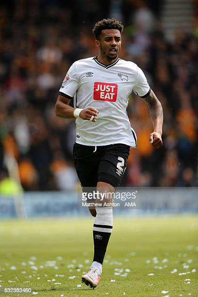 DERBY ENGLAND MAY 14 Cyrus Christie of Derby County during the Sky Bet Championship Play Off First Leg match between Derby County and Hull City at...