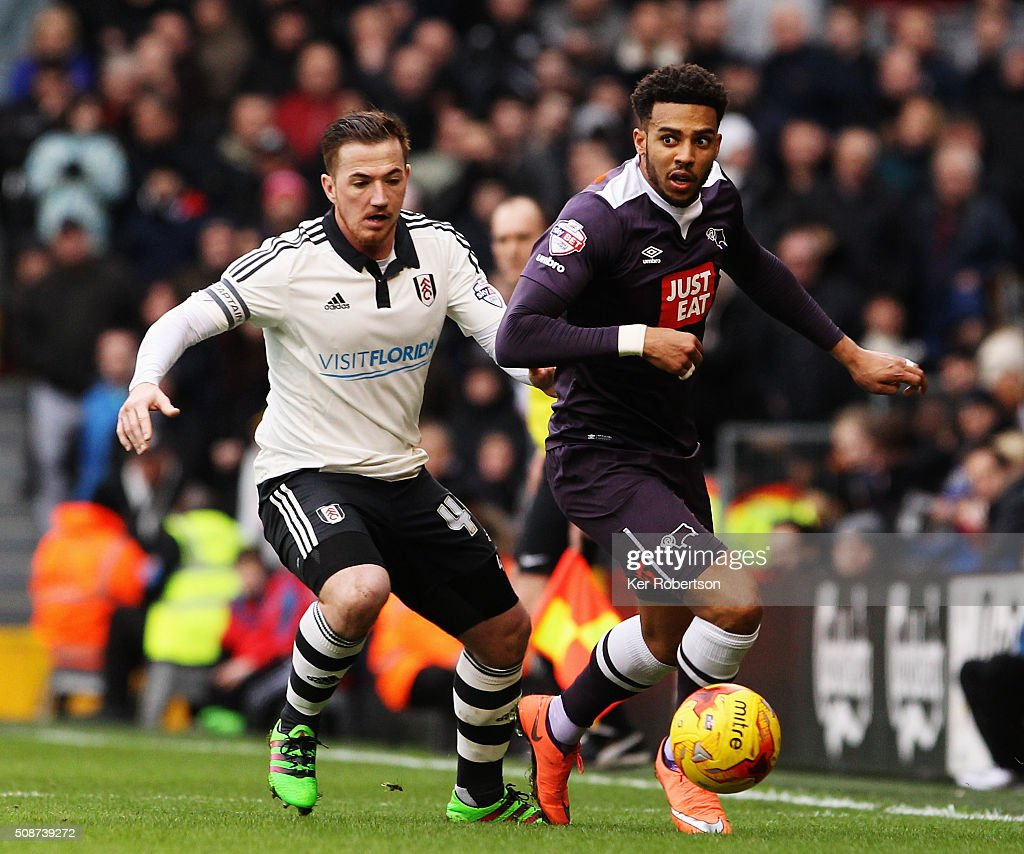 <a gi-track='captionPersonalityLinkClicked' href=/galleries/search?phrase=Cyrus+Christie&family=editorial&specificpeople=8534118 ng-click='$event.stopPropagation()'>Cyrus Christie</a> (R) of Derby County holds off the challenge of <a gi-track='captionPersonalityLinkClicked' href=/galleries/search?phrase=Ross+McCormack+-+Soccer+Player&family=editorial&specificpeople=13496004 ng-click='$event.stopPropagation()'>Ross McCormack</a> (L) of Fulham during the Sky Bet Championship match between Fulham and Derby County at Craven Cottage on February 6, 2016 in London, England.