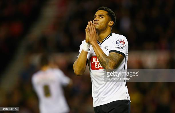 Cyrus Christie of Derby County reacts during the Sky Bet Championship match between Nottingham Forest and Derby County at City Ground on November 6...