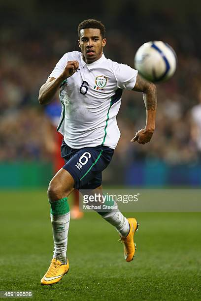 Cyrus Christie of Ireland during the International Friendly match between the Republic of Ireland and USA at the Aviva Stadium on November 18 2014 in...
