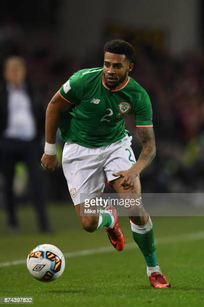 Cyrus Christie of Ireland in action during the FIFA 2018 World Cup Qualifier PlayOff Second Leg between Republic of Ireland and Denmark at Aviva...
