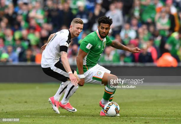 Cyrus Christie of Republic of Ireland and Florian Kainz of Austria during the FIFA 2018 World Cup Qualifier between Republic of Ireland and Austria...