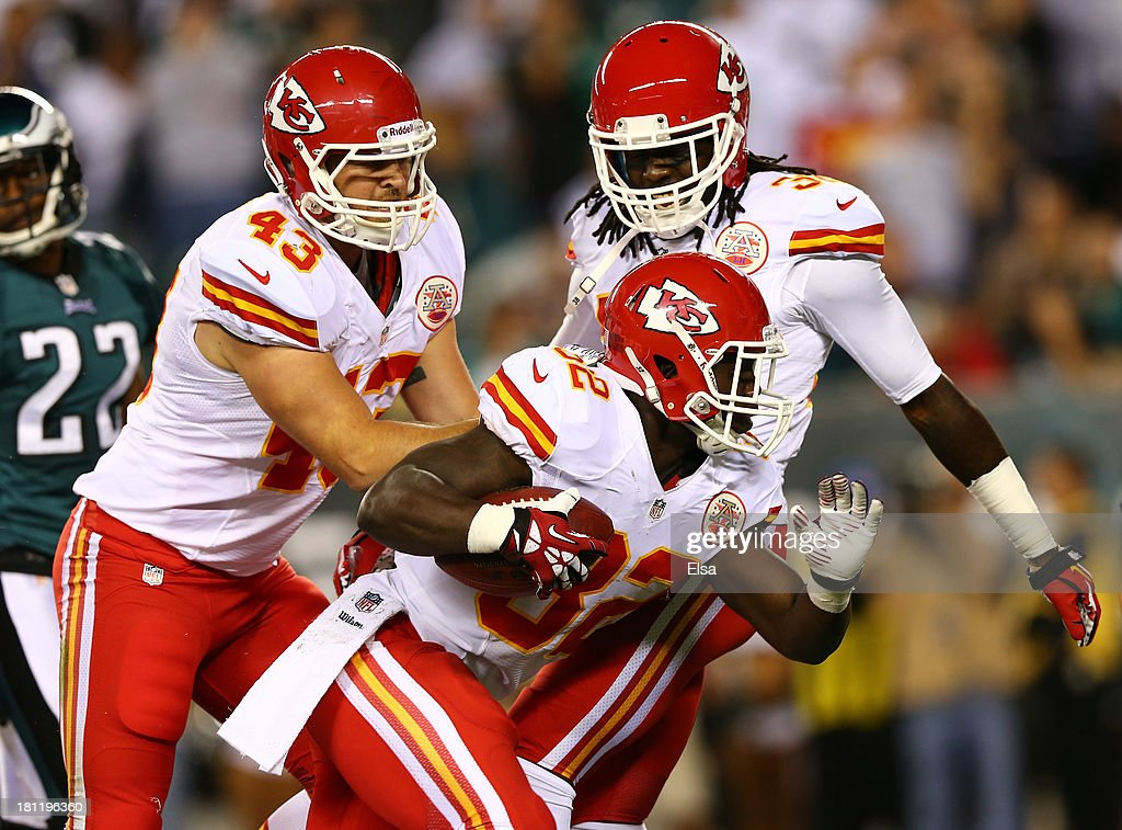 <a gi-track='captionPersonalityLinkClicked' href=/galleries/search?phrase=Cyrus+Gray&family=editorial&specificpeople=5573455 ng-click='$event.stopPropagation()'>Cyrus Gray</a> #32 of the Kansas City Chiefs celebrates with teammates after recovering a fumble against the Philadelphia Eagles in the first quarter at Lincoln Financial Field on September 19, 2013 in Philadelphia, Pennsylvania.