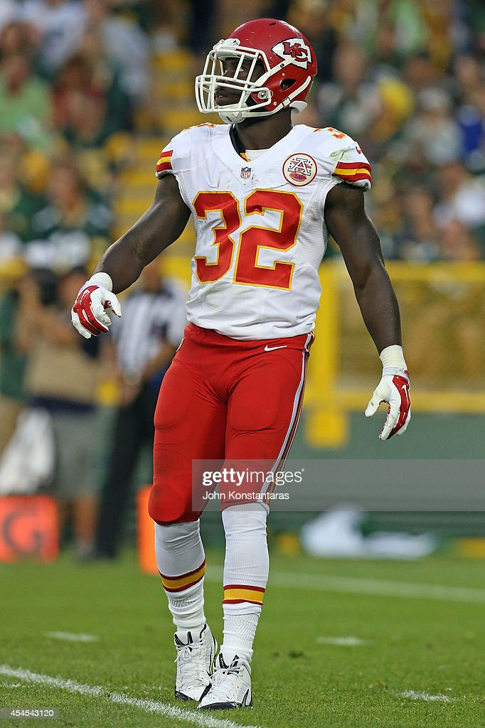 <a gi-track='captionPersonalityLinkClicked' href=/galleries/search?phrase=Cyrus+Gray&family=editorial&specificpeople=5573455 ng-click='$event.stopPropagation()'>Cyrus Gray</a> #32 of the Kansas City Chiefs during a preseason game against the Green Bay Packers on August 28, 2014 at Lambeau Field in Green Bay, Wisconsin.