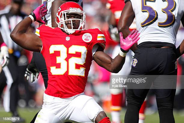 Cyrus Gray of the Kansas City Chiefs gives the first down signal after making a reception near the twenty five yard line against the Baltimore Ravens...