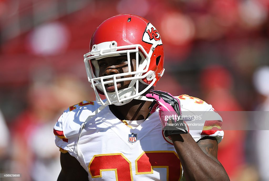 <a gi-track='captionPersonalityLinkClicked' href=/galleries/search?phrase=Cyrus+Gray&family=editorial&specificpeople=5573455 ng-click='$event.stopPropagation()'>Cyrus Gray</a> #32 of the Kansas City Chiefs looks on during pre-game warm ups prior to playing the San Francisco 49ers at Levi's Stadium on October 5, 2014 in Santa Clara, California.