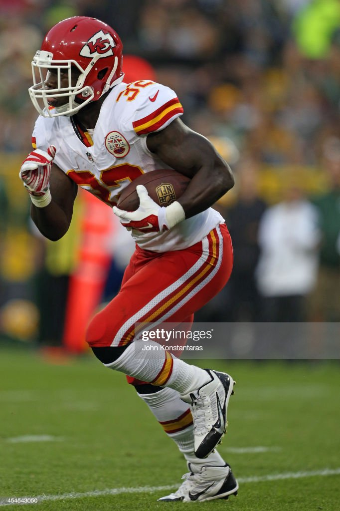 <a gi-track='captionPersonalityLinkClicked' href=/galleries/search?phrase=Cyrus+Gray&family=editorial&specificpeople=5573455 ng-click='$event.stopPropagation()'>Cyrus Gray</a> #32 of the Kansas City Chiefs runs the ball during a preseason game against the Green Bay Packers on August 28, 2014 at Lambeau Field in Green Bay, Wisconsin.