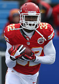 Cyrus Gray of the Kansas City Chiefs warms up before NFL game action against the Buffalo Bills at Ralph Wilson Stadium on November 3 2013 in Orchard...
